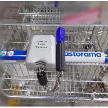 Cadeado para carrinhos de compras com dois tipos de moedas