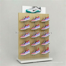 Factory Price Advertising Equipment Freestanding Footwear Store Oak Wood Or Beech Shoe Display Unit