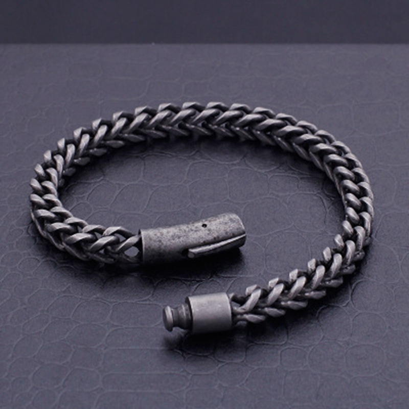 Men's Stainless Steel Black Plated Hip Hop Bracelet
