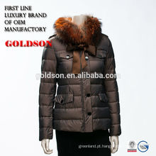 2016 Hot Sell Woman Winter Jacket Short Dark Goose escuro com real Fox Fur Collar