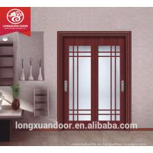 Puerta de madera de doble vidrio, Puerta corredera de madera de vidrio de diseño, Puerta corredera de cocina