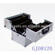 caja de herramientas de aluminio fuerte plata con 4 bandejas de plástico y compartimientos ajustables en la parte inferior caso