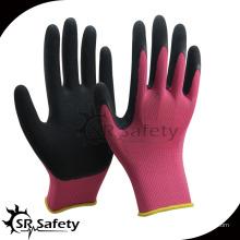 SRSAFETY 13G розовая нейлон с пальмовым покрытием розовый лайнер черная пена латексная перчатка