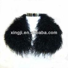 Col agneau tibétain de couleur noire teinté de qualité supérieure
