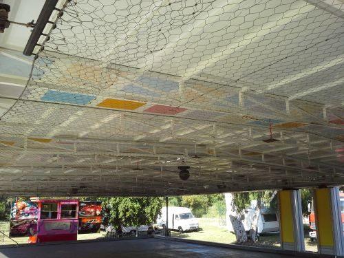 Bumper Car hex wire grid ceiling