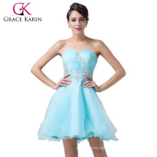 Newest Design of Grace Karin Strapless Short Blue Cocktail Dresses With Shining Rhinestone CL6178