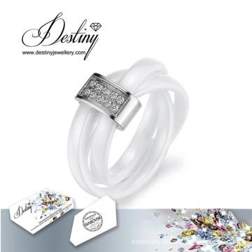 Destino joias cristais de Swarovski cerâmico anel