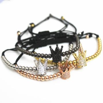 Pulseras populares Corona Imperial nueva moda Micro Pave cúbicos Circonia encanto mujer trenzar Macrame pulseras de plata joyería.
