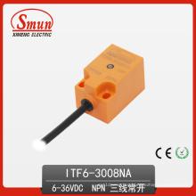 Conmutador de proximidad inductivo 6-36VDC Sensor de tres cables DC PNP No con 8 mm de detección de disfabilidad (ITF6-3008NA)