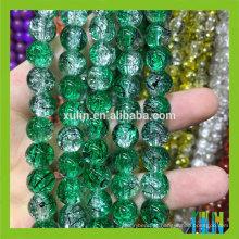 Aterragem de vidro redonda verde do grânulo do craccle do desenho de 8mm para a jóia