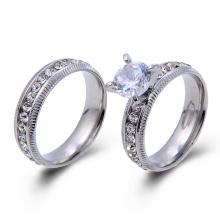 Anel de aço inoxidável da cor do anel da promessa dos pares da forma que fixa o anel de casamento de CZ