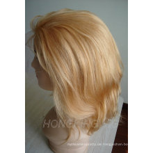 100% menschliches remy blondes Haar volle Spitzeperücke für Verkauf