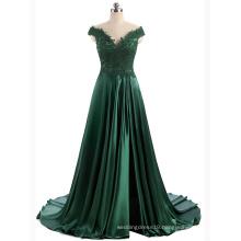 Long Evening Gown Shawl Sleeve Split Design Satin Dress