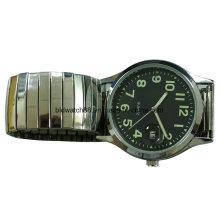 Arbeiten Sie analoge goldene Legierungs-Uhr mit elastischem Band für Mann um