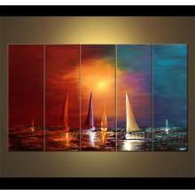 Pintura al óleo del barco de navegación del paisaje marino