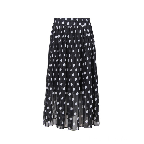 Frauen Plissee Black Dot Elastic Waist Rock