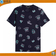 Homens grosso em torno do pescoço T-shirts Moda impressa camisetas de algodão