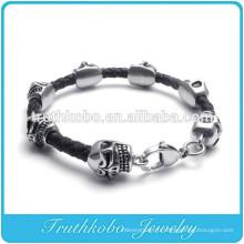 Bracelet fait main en cuir avec perles de mort tete de mort