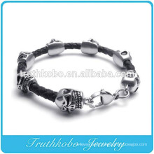 Handmade wholesale Skull Charm Beads Braided Leather Bracelet