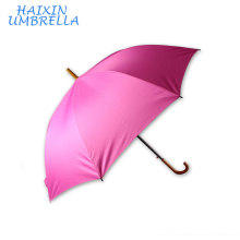 Walking Fashional Classic Pink Pongee Personalizado 8k Economy Traditional J mango de madera Straight Rod Umbrella Print Logo Favors