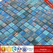 China supply products bule mixed Hot - melt mosaic swimming pool floor tile