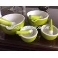 Blanco / amarillo / verde / rojo esmaltado juego de mortero de cerámica y mortero / TOHO cerámica