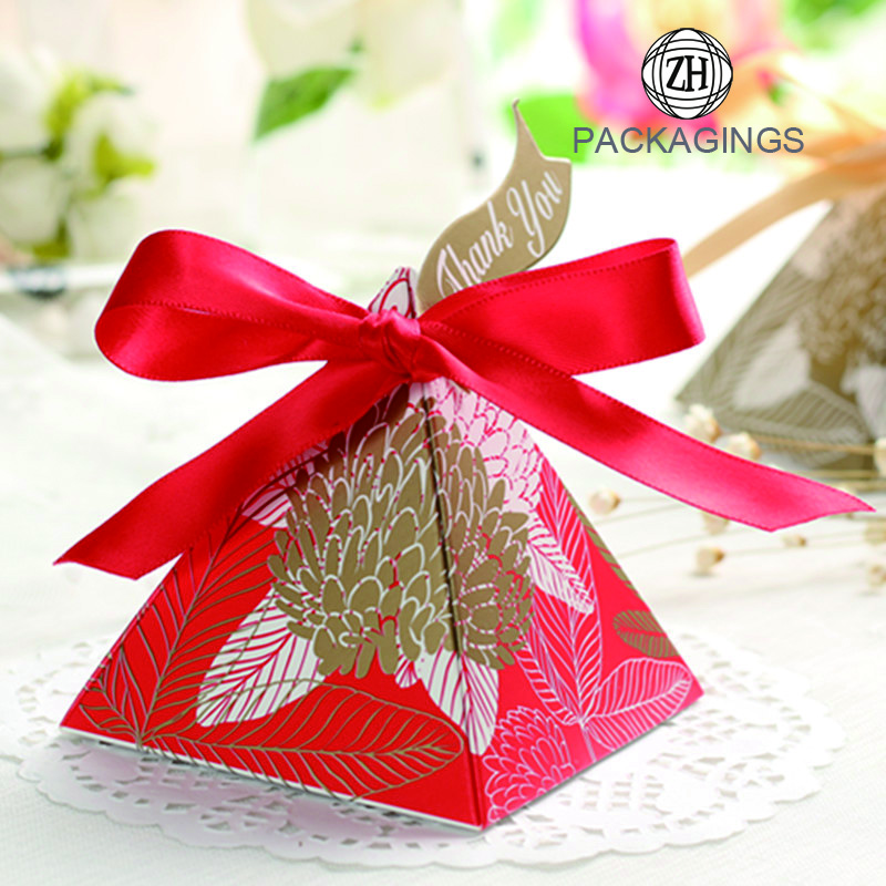 New Pyramid Shaped Paper Candy Box Gift Box