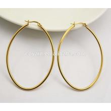 Clássico oval de aço inoxidável 18K brincos de aro de ouro para as mulheres