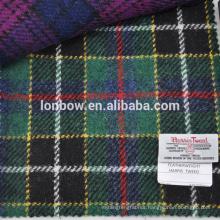 Green tartan Harris Tweed 100% virgin wool fabric for gloves