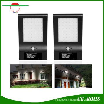 Haute luminosité 850lm longue durée 4400mAh batterie solaire infrarouge LED Wall Light Slim extérieur 48LED Motion Sensor jardin lampe