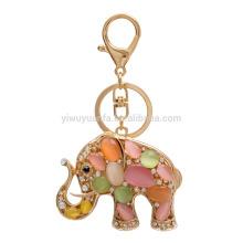 most popular fashion rhinestone golden elephant keychain