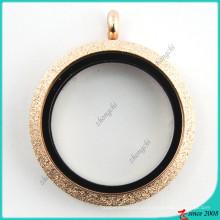 Ouro rosa faísca vidro aberto medalhão atacado (fl16041808)