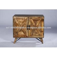 Gabinete de madera natural recuperado industrial de la vendimia