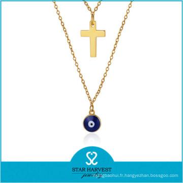 Usine pas cher prix gros strass collier ensemble collier en argent (J-0230N)
