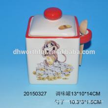Ceramic seasoning pot with wooden spoon