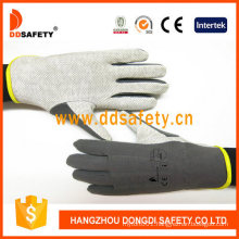 100% Grey Cotton or Interloc Gloves with PVC Dots on Palm 3 Seams on Back Shirred Elastic Back