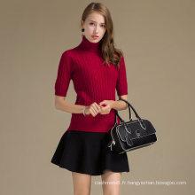 Pull en cachemire de luxe pour les femmes personnalisé revers pull laine cachemire mélange pull