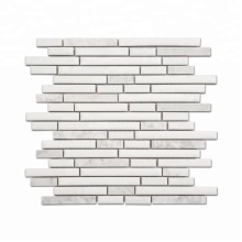 White marble-look porcelain brick mosaic for wall