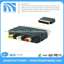 RGB Scart to 3 RCA AV Audio Video TV Converter Adapter