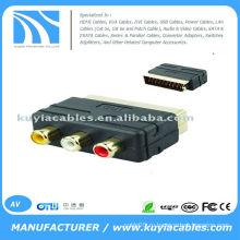 RGB Scart для 3 RCA AV аудио-видео конвертер ТВ-конвертер