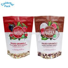 100g 250g 500g food grade malote sacos de folha de alumínio lanche embalagem stand up saco para coco