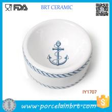 Hot Sale Navy Style Blue Ceramic Pet Bowl Pet Accessories