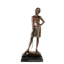Weibliche Figur handgefertigte Fechter Bronze Skulptur Sammlung Messing Statue TPE-755