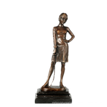 Female Figure Hand-Made Fencer Bronze Sculpture Collection Brass Statue TPE-755