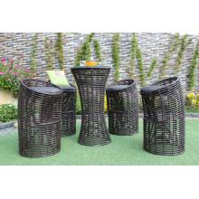 Elegante diseño único sintético PE Rattan Bar Set para jardín al aire libre Muebles de mimbre Patio