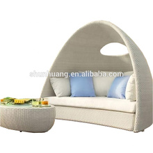hot design outdoor PE rattan daybed wicker furniture sun lounger
