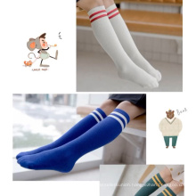 cotton wholesale in stock long tube girls school socks with stripes