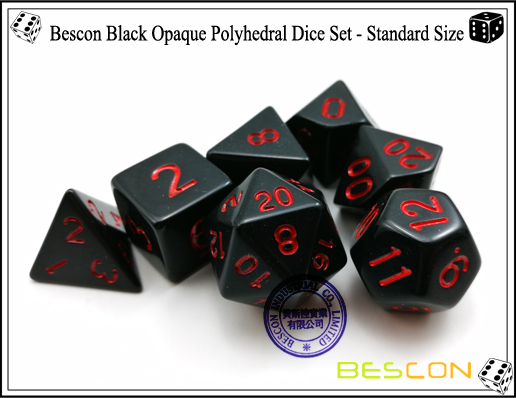 Bescon Black Opaque Polyhedral Dice Set-3