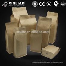 Ziplock papel kraft bolsa de embalaje / aluminio stand up bolsa de papel kraft para el embalaje