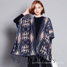 Женская мода вискоза акрил трикотажные зима бахромой шаль (YKY4527)